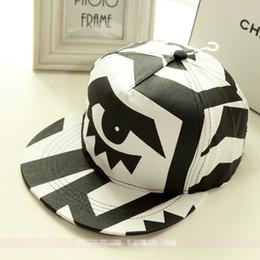 Wholesale Snapback Eye Big - Wholesale-2015 New Fashion Black And White Flat Brims Big Eyes Snapback Hat Baseball Caps For Men  Women