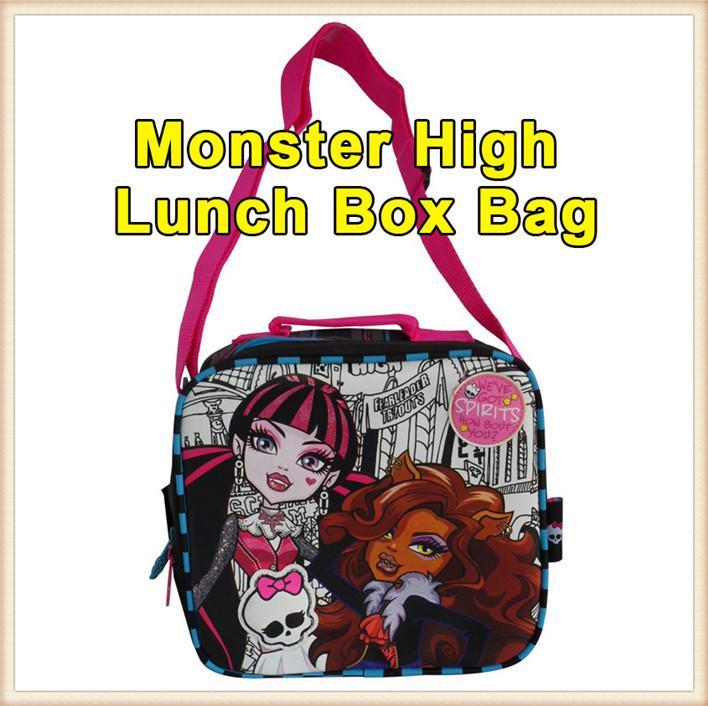 8bd9452ae942 Wholesale-Free Shipping Cartoon Single Shoulder Lunch Box Bag Monster High  School Messenger Backpacks Children Girl Student Gift For Kid