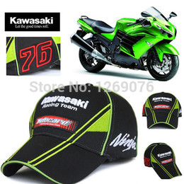 Wholesale Kawasaki Cap - Wholesale-Sport Cap F1 Car Motocycle Racing MOTO GP Kawasaki Ninja 76 Embroidery Baseball Cap Hat