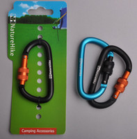Wholesale Alloy Quick Release - Wholesale-NEW lockable aluminum alloy carabiner high quality quick release 6 cm 60 kg weight hanging buckle camping hiking travel
