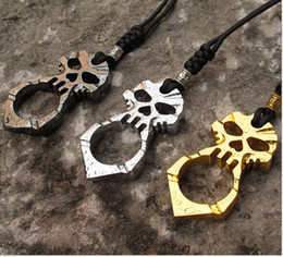 Wholesale Holy Pendants - Wholesale-Send Random On Promotion Outdoor Edcgear Holy Skull Skeleton Pendant Key Chain Survival With pendant cord Free Shipping Q213