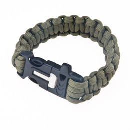 Wholesale Outdoor Survival Magnesium - Wholesale-Free Shipping HX OUTDOORS Survival Whistle Survival Rope With Magnesium Rods Black Green