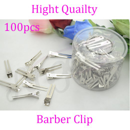 Wholesale Double Prong Hair Clips - Wholesale-100pcs 45mm double Prong Alligator grip Clips, metal hairpins with No Teeth Hair Accessory Silver