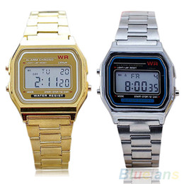 Wholesale-Men Women Vintage Stainless Steel LED Digital Stopwatch Sports Wristwatches 1L3J