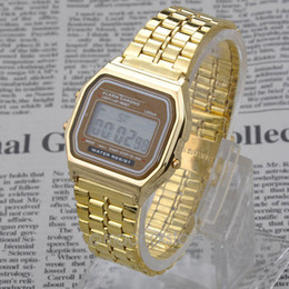 Wholesale Wrist Watch Digital Thin - Wholesale-Hot Sale Ultra-Thin Classic Retro Fashion Gold Metal Digital Display style Wrist Watch Date Unisex Stopwatch YL*MHM102#S8