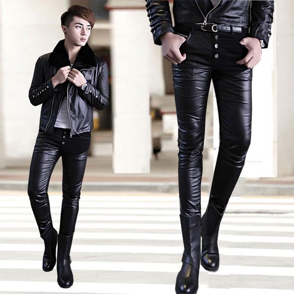 Toptan Satış - Toptan-Sıcak Satış 2015 En Moda Faux Patchwork Lederhosen Erkek Deri Pantolon Erkek İnce Elbise Sıkı PU Termal Skinny Pantolon Yıkanmış
