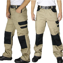 Wholesale Work Knee Pads - Wholesale-New Arrival Hot sale Mens khaki   grey wear-resistance multi-pockets work trousers with knee padded cargo work trouser pant