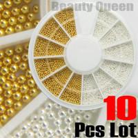 Wholesale Mm Nail Art - 10 Pcs Lot Golden Silver Steel Bean Bead 0.9 mm Mini Ball Wheel Nail Art 3D Tip Decoration FREE SHIP