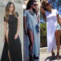 siyah beyaz maxi elbiseler toptan satış-Toptan-Ünlü Seksi Kadın Elbiseler Yüksek Yan Bölmeleri Maxi Uzun Tee Elbise Vestidos De Fiesta Rahat Clubwear Bandaj Beyaz / Siyah