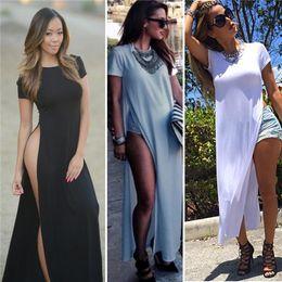 Wholesale high split maxi dress - Wholesale-Celebrity Sexy Women Dresses High Side Splits Maxi Long Tee Dress Vestidos De Fiesta Casual Clubwear Bandage White Black
