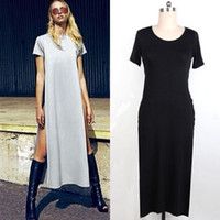 Wholesale Double Maxi Long Dress - Wholesale-Sexy Women High Side Double Slit Splits Long Maxi T Shirt Dress Blouse Top G428SD