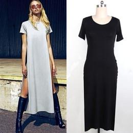 64f5f7a67 Wholesale-Sexy Women High Side Double Slit Splits Long Maxi T Shirt Dress  Blouse Top G428SD