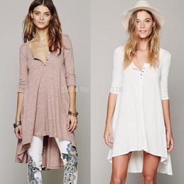 $enCountryForm.capitalKeyWord Canada - Wholesale-free shipping women casual dress Inequality Half Sleeve V neck Knitwear cotton bohemian style people Fashion dress
