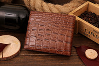 крокодил кошельки для мужчин оптовых-Wholesale-Humanized Men male genuine leather cowhide crocodile short slim wallet  clutch gents purse carteira masculina couro
