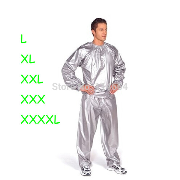 Wholesale-Free shipping PVC Silver or Black women or men Sauna suit Sweat Boxing Exercise Weight Loss extral big Size L-4XL