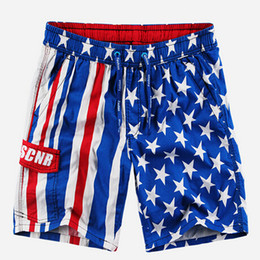 Wholesale Flag Beach Shorts - Wholesale- new american flag swim shorts beach shorts for men plus size male quick-drying sports capris casual cotton knee-length