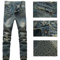 Wholesale Nwt Mens Slim - Wholesale-NWT BM Paris famous brand Hole Slim jeans men Spliced denim mens jeans ripped denim biker jean Casual pants vaqueros pantalones