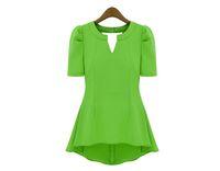 Wholesale Shirt Frill - Wholesale-New FahionChiffon Blouses & Shirts OL Womens Ladys Peplum Tops Frill Puff Sleeve Fitted Shirt V Neck Summer Holiday 1