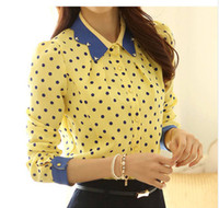 Wholesale Ladies Blouses For Spring - Wholesale-2015 Ladies Spring Slim Peter Pan Diamante Collar Polka Dot Print long-sleeve Chiffon Long-sleeve Blouses Shirt For Women CS9104