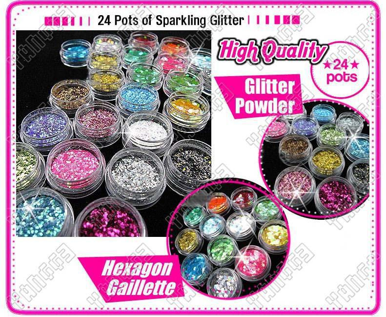 24 Pot Nail Art Glitter Toz Rhinestone Spangle Powder