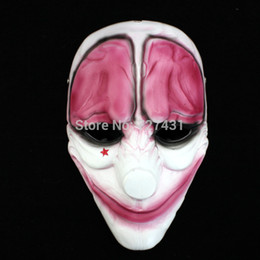 Wholesale Clown Cosplay - Wholesale-unisex PAYDAY Hoxton MASK Heist joker clown Fancy Dress proms Cosplay Costume prop Accessory Creepy Circus Halloween Masquerade