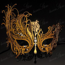 Wholesale Masks Filigree - Wholesale-Beautiful Luxury Rhinestone Swan Laser Cut Venetian Gold Mask Masquerade Metal Filigree Eye Mask Macka Free Shipping