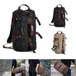 Wholesale Vintage Hiking Backpacks - Wholesale-Mens Vintage Canvas Backpack Rucksack Laptop Shoulder Travel Hiking Camping Bag