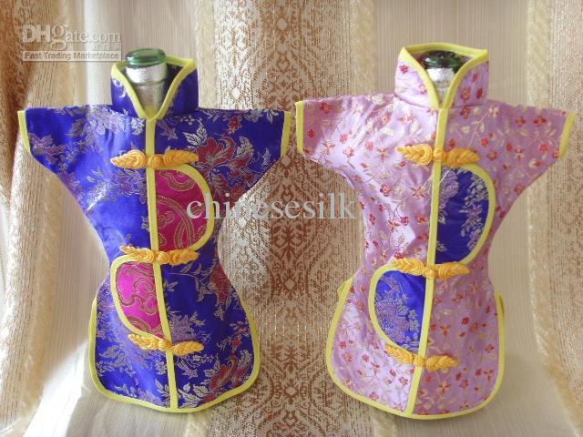 Nyhet kinesisk stil bröllop vin flaska täcke väskor fest bord dekoration silke tyg flaska kläder 10st / mix färg gratis frakt