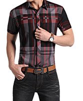 Wholesale-Plus Size M-4XL Camisa Social New 2015 Men Rock-Sommer-Plaid-Hemden Revers Covered Buttons Metall Dekoration Kurzarmshirts