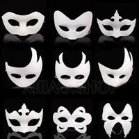 Wholesale Plain Paper Masquerade Masks - Wholesale-10pcs lot White Unpainted Face Plain Blank Version Paper Pulp Mask DIY Masquerade Masque Free shipping