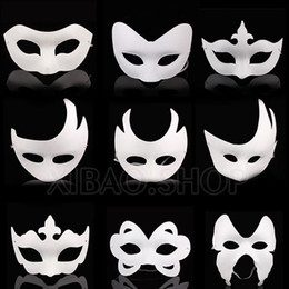 Wholesale White Pulp Mask - Wholesale-10pcs lot White Unpainted Face Plain Blank Version Paper Pulp Mask DIY Masquerade Masque Free shipping