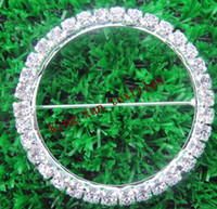 Wholesale Diamond Rings Decorations - Wholesale-Round Diamond Ring Diamond Buckle Broach for chair sash\chair band\wedding decoration\spandex chair band