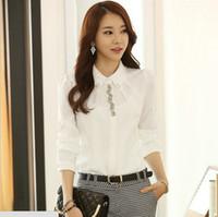 Wholesale Women S Work Tops - Wholesale-New autumn blouse & shirts women clothing white shirt chiffon blouse women work wear tops for women CS4512