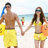 Wholesale Loose Cool Trousers - Wholesale-Cool Summer Men's Yellow Smiley Couple Swimsuit Beach Short Trousers