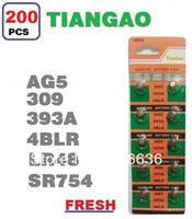 Wholesale Tiangao Alkaline Battery - Wholesale-200pcs AG5 LR48 393 LR754 SR48 SR754 309 393 193 546 4BLR TIANGAO Watch Timer Cell Button Batteries Alkaline wholesale card LOT