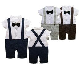 Wholesale Neck Tie Shirt - baby rompers tuxedo bodysuit outfit overall garment tie baby clothes jumpsuits shirts tights TZ503