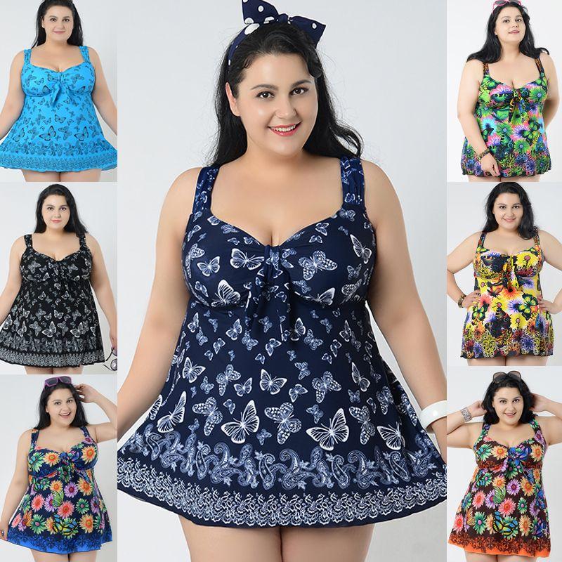 6dbd5c9abe 2015 New 6xl Plus Size Fat Womens Ladies Swimwear Split Type Swimdress  Beachwear Bathing Suits 4xl
