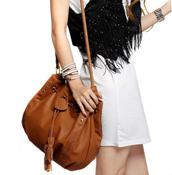Fashion Lady Pu Leather Bag Tassel Bag Women Shoulder Bag Sling ...
