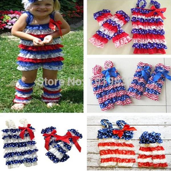 0a2f495dc13f 2019 Wholesale Baby 4th Of July Romper Set Patriotic Day Outfit Infant Girl  Rompers With Matching Leg Warmer In Set Baby Clothing From Lbdbaby