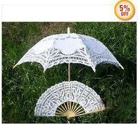 ingrosso ombrelli da sole-Promozione! OMBRELLONE OMBRELLO PARASOLE BIANCO SUN BATTEN + Fan in pizzo 4 pezzi / lotto