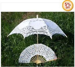 Wholesale White Lace Umbrella Wholesale - Promotion! White SUN BATTEN LACE PARASOL UMBRELLA WEDDING + Lace Fan 4pcs lot