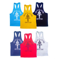 Wholesale Racerback Sports Top - Wholesale-1 Mens' Golds Gym Retro Muscle Tank Tops Singlet Bodybuilding Racerback Workout Sportswear Sports Vest Size M-XXL New