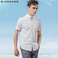 All'ingrosso-Giordano uomini 2015 di marca casual manica corta Camicia Oxford Camisa Masculina Blusas Pocket Button Down Collar 100% Cotton Slim Fit