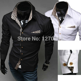 Wholesale Leopard Clothed - Wholesale-Free Shipping New2015 Fashion Slim Fit Casual Shirt Men Casual Dress Shirts Long-sleeve Novelty Leopard Print Collar Men Clothes