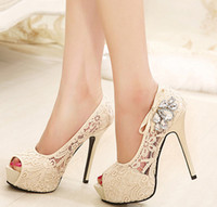 Wholesale Pink Peep Toes Wedges - Wholesale-2015 Sexy High Heels Platform Pumps Womens Silver Rhinestone Wedding Shoes Woman Lace Peep Toe Stiletto Heels Sapato Feminino