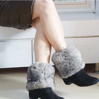 Wholesale Black Fur Boot Covers - Wholesale-Height 10cm 15cm 20cm natural Genuine real Rabbit Fur leg warmers Winter new style boot accessories foot socks covers CW3208