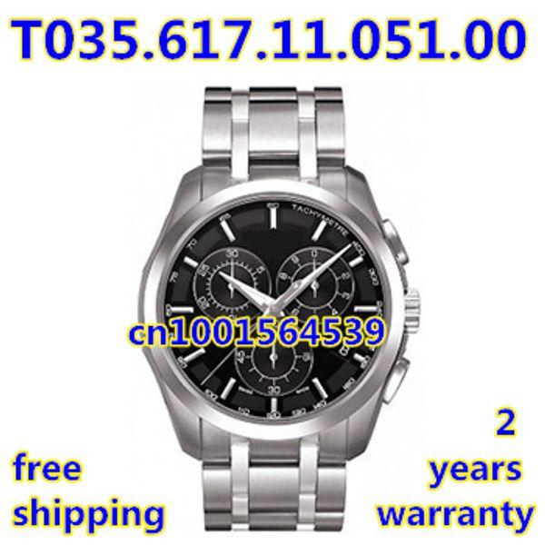 Оптовая продажа-новое сапфировое стекло ETA кварцевый механизм Мужские спортивные черный циферблат хронограф часы T035.617.11.051.00 T035 + Оригинальная Коробка