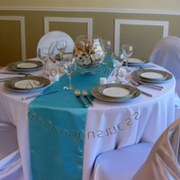 """Wholesale Turquoise Satin Runners - Wholesale-Free shipping 25PCS Turquoise Satin Table Runners 12"""" x 108"""" Wedding Party"""