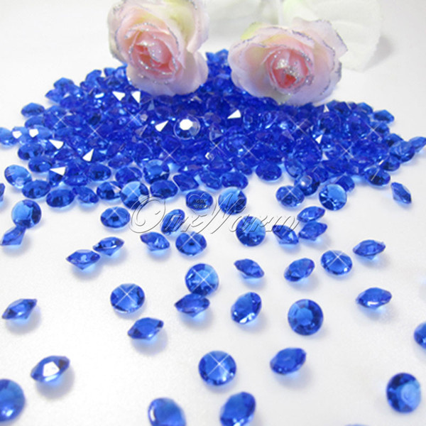 Wholesale-1000pcs Dark Blue 6.5mm 1Carat Acrylic Crystal Diamond Confetti for Wedding Party Table Vase Decoration Supply