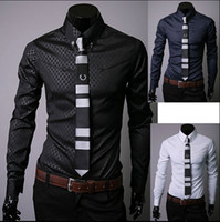 Wholesale Blast Shirt - Wholesale-New 2015 Spring blasting models Men's Casual Long Sleeves Plaid Shirt Obscure Mens Dress Shirts Three color large size M ~ 5XL